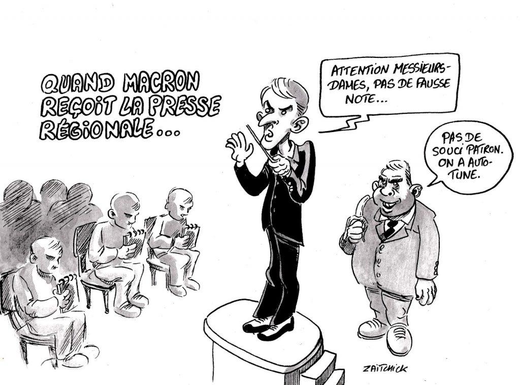 dessin humoristique sur Emmanuel Macron recevant la presse régionale et Madonna utilisant Autotune