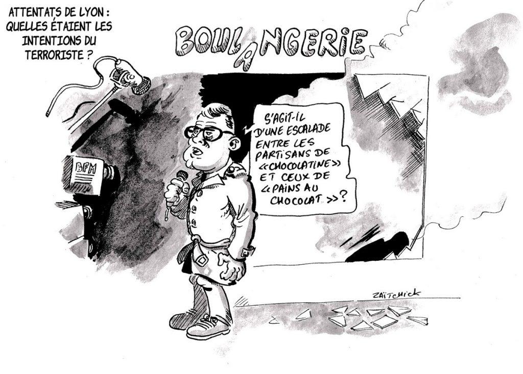 dessin d'actualité humoristique sur la couverture médiatique de l'attaque au colis piégé à Lyon