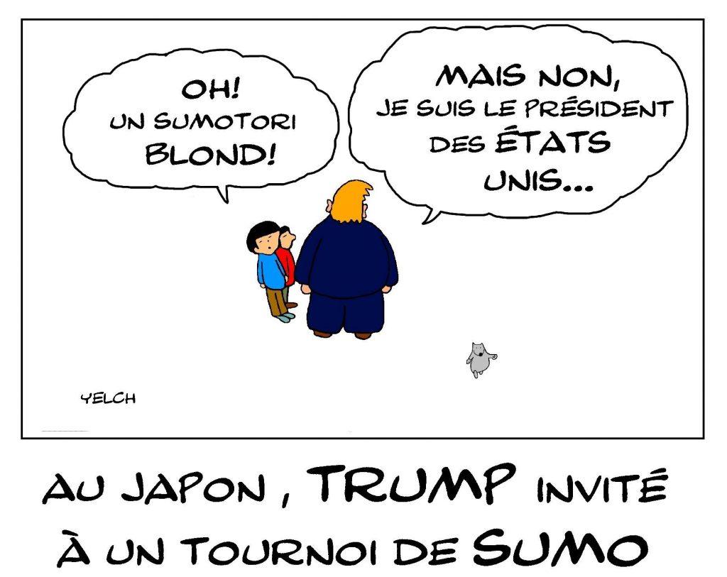 dessin de Yelch sur l'invitation de Donald Trump à un tournoi de Sumo au Japon