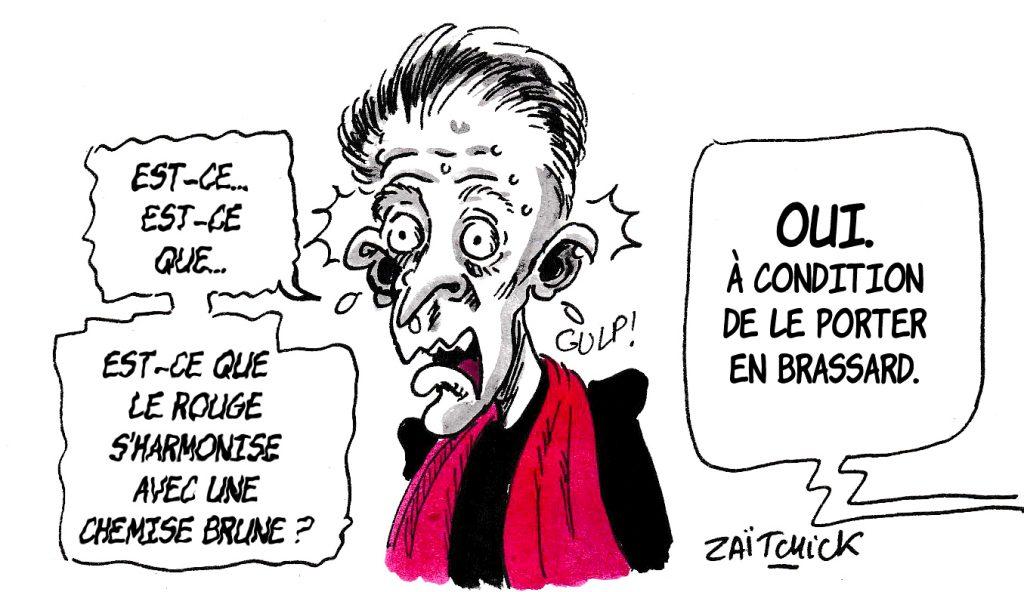 dessin d'actualité humoristique sur Christophe Barbier et le résultat des élections européennes