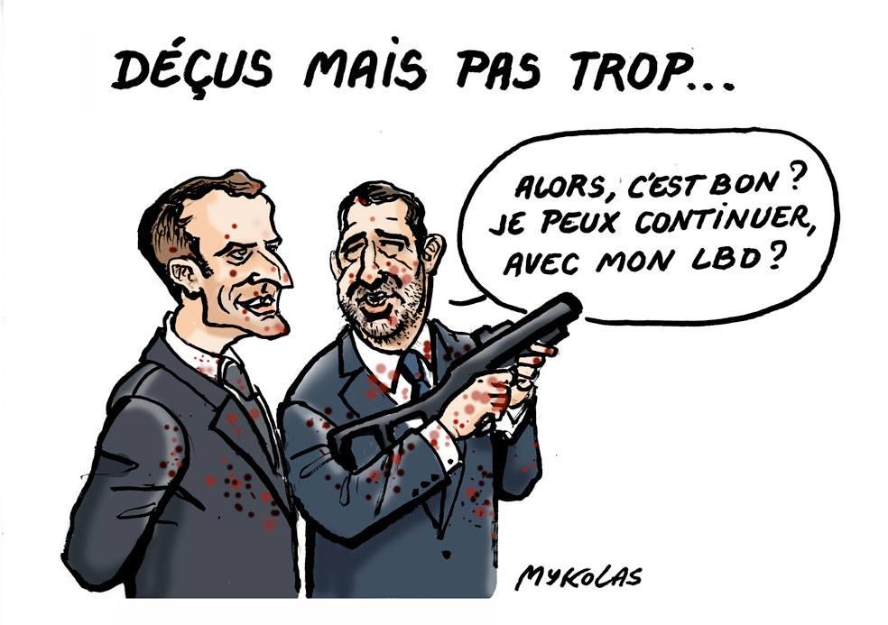 dessin d'actualité humoristique sur Emmanuel Macron, Christophe Castaner et le résultat des élections européennes