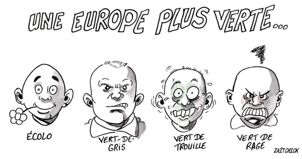 dessin d'actualité humoristique sur les verts et le résultat des élections européennes