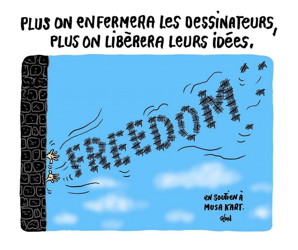dessin d'actualité humoristique sur l'incarcération de Musa Kart en Turquie