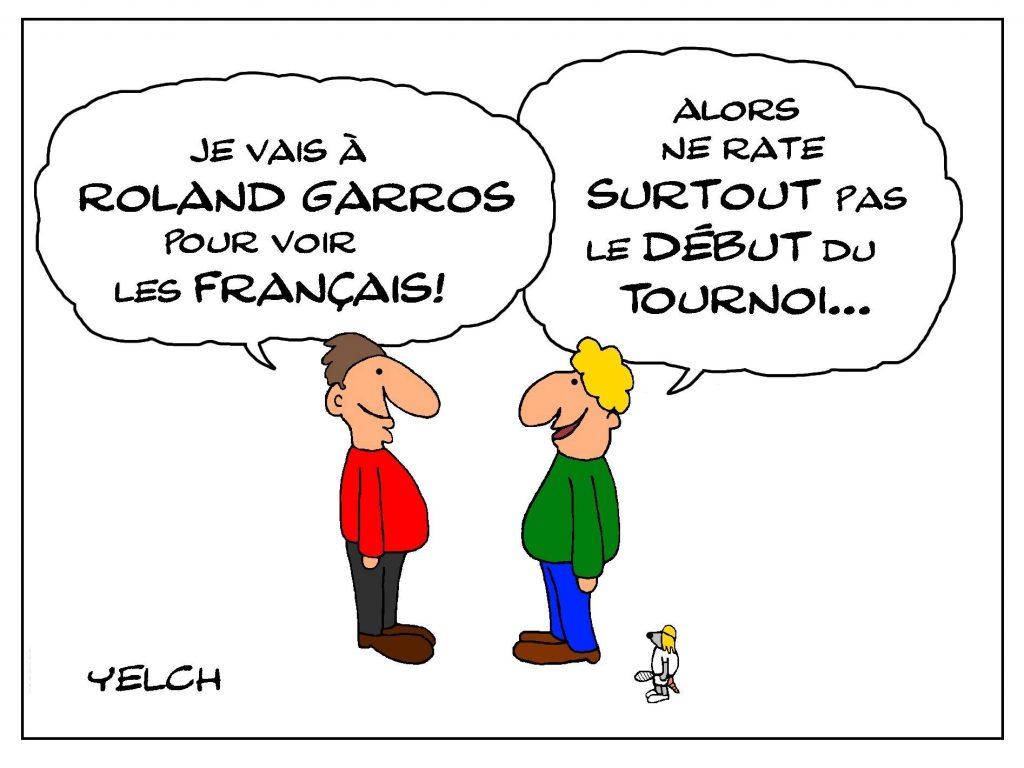 dessin de Yelch sur le tournoi de Roland-Garros
