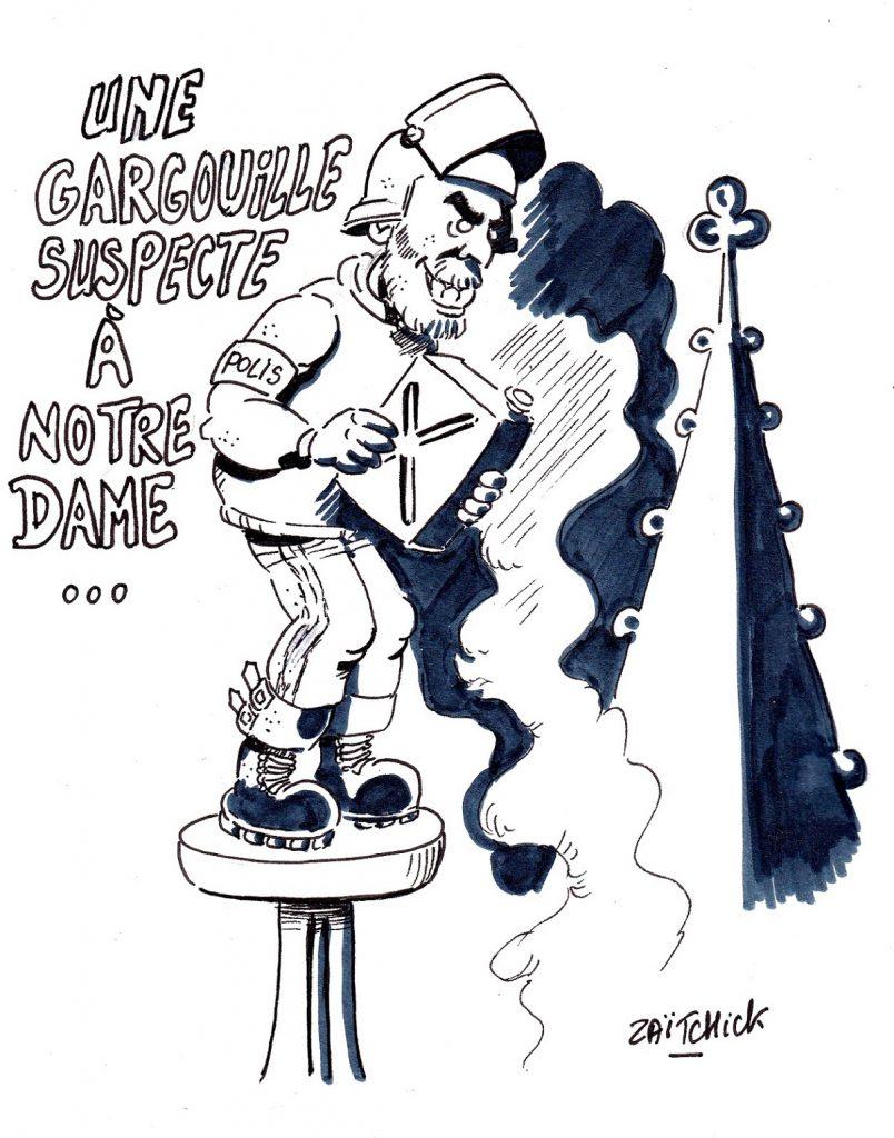 dessin d'actualité humoristique sur l'incendie de Notre-Dame de Paris, les théories du complot et l'affaire Benalla