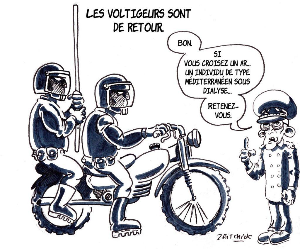 dessin d'actualité humoristique sur le recours aux voltigeurs pour les manifestations des gilets jaunes