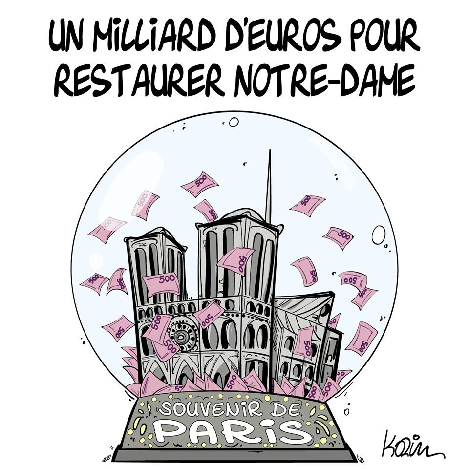 dessin d'actualité humoristique sur le milliard d'euros donné pour la restauration de Notre-Dame de Paris