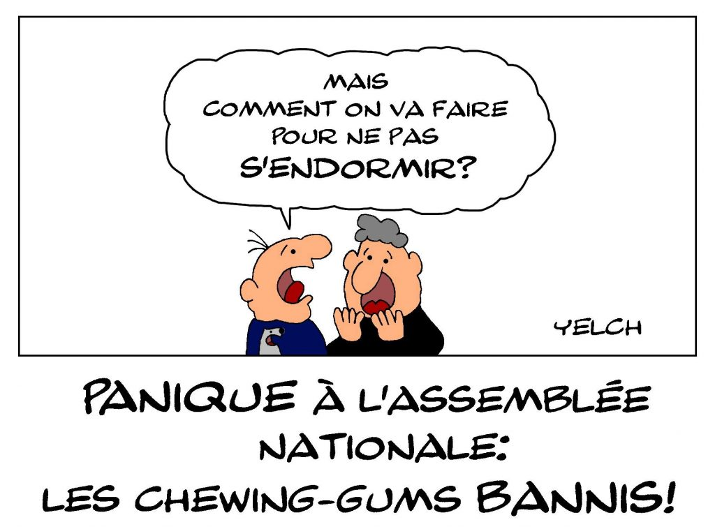 dessin de Yelch sur l'interdiction des chewing-gums à l'Assemblée Nationale