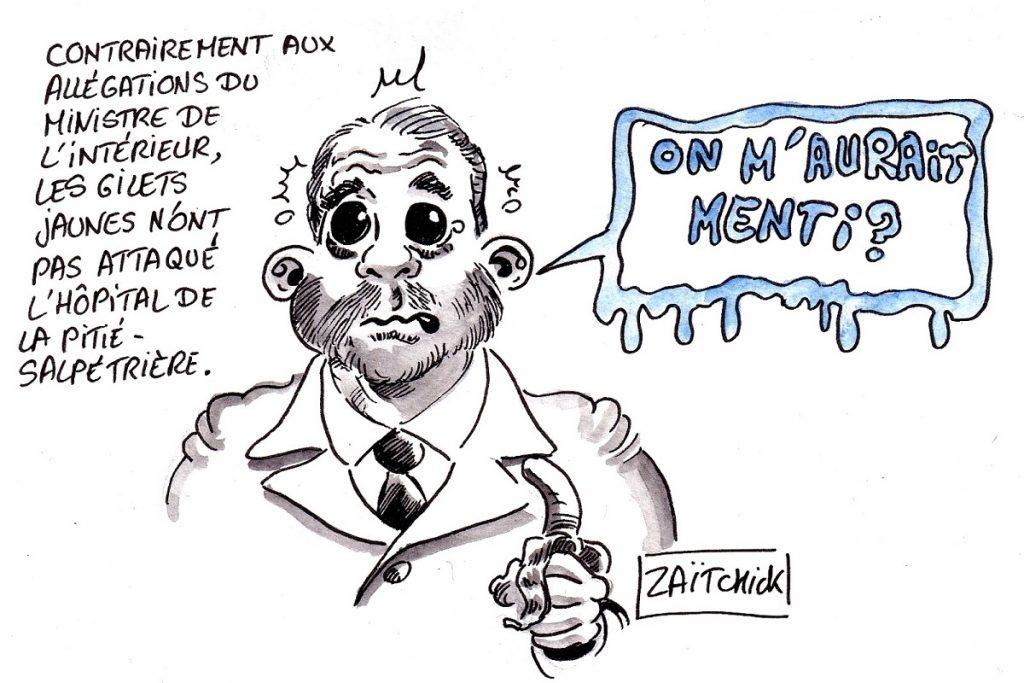 dessin d'actualité humoristique sur l'annonce par Christophe Castaner de l'attaque de l'hôpital de la Pitié-Salpêtrière