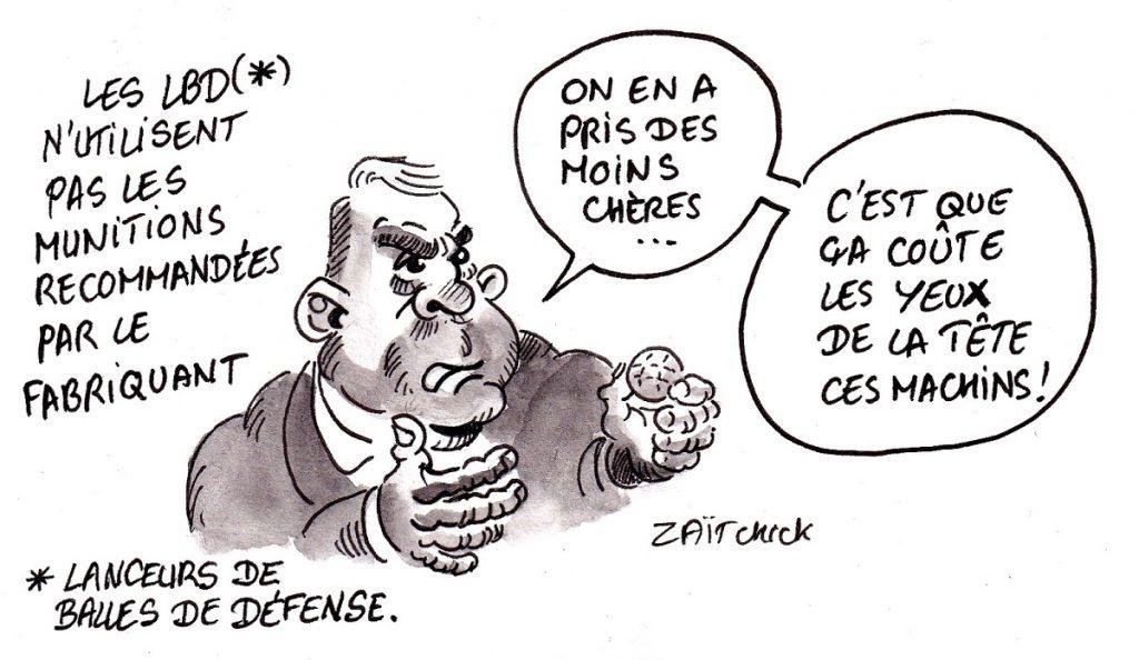 dessin d'actualité humoristique sur l'utilisation de munitions inadaptées dans les LBD