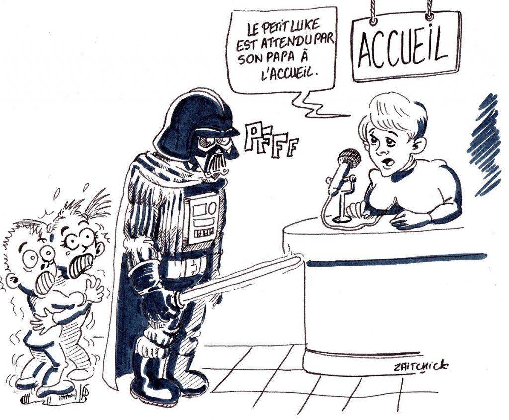 dessin d'actualité humoristique sur la convention Star Wars de Cusset 2019