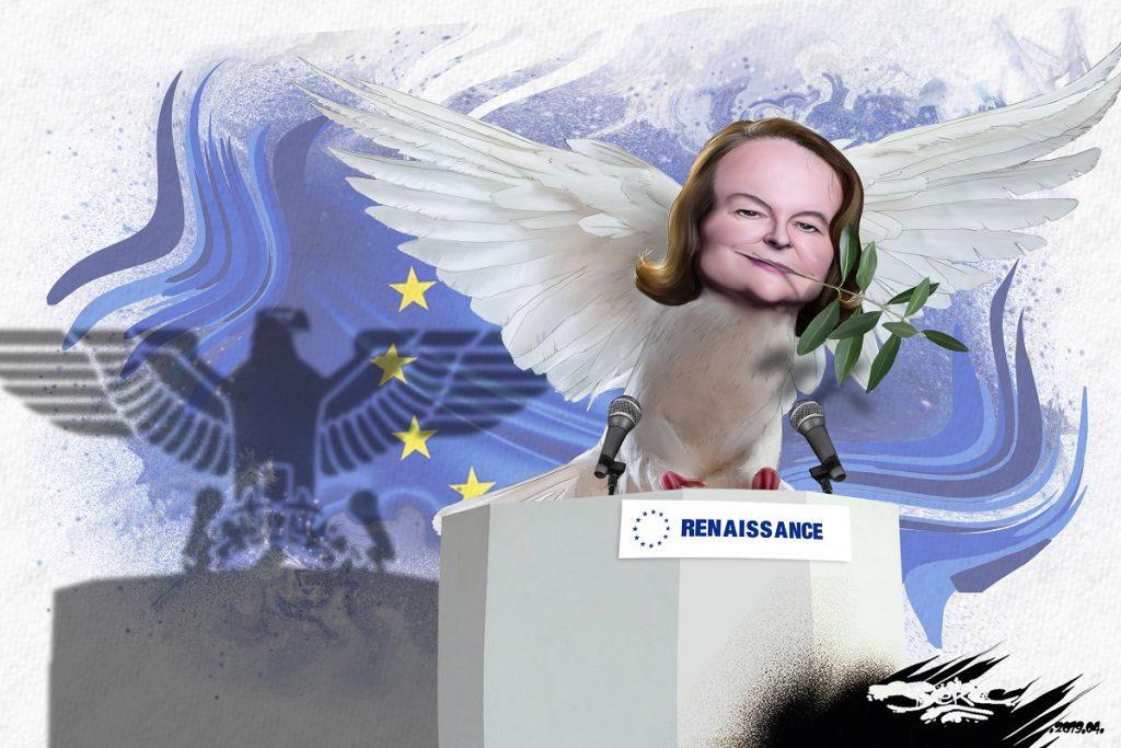 """dessin d'actualité humoristique sur """"l'erreur de jeunesse"""" de Nathalie Loiseau et ses accointances avec l'extrême-droite"""