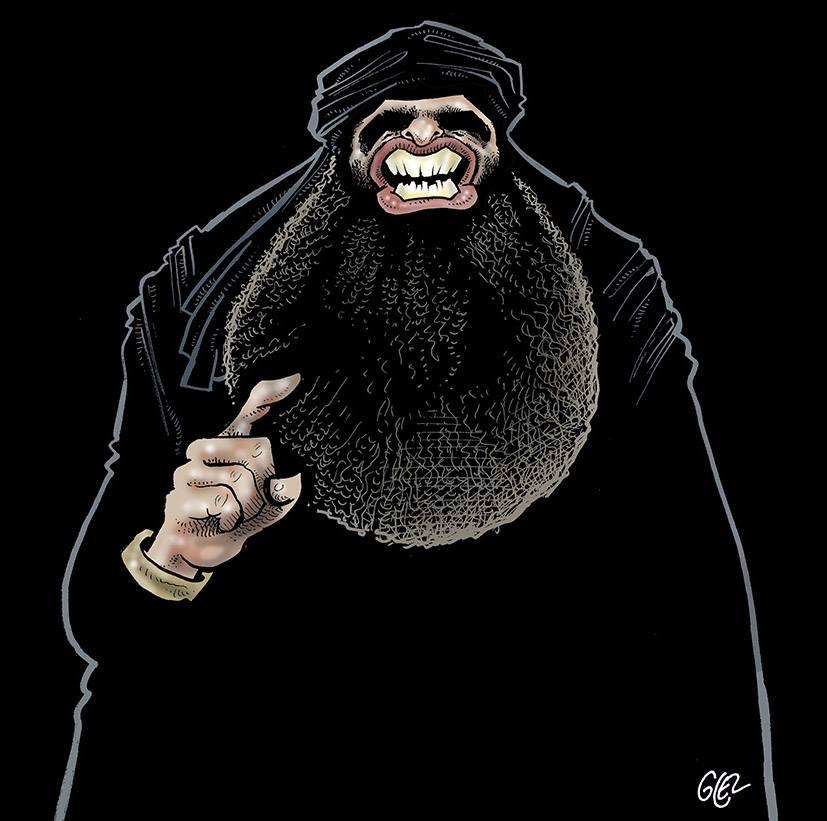 caricature portrait d'Abou Bakr al-Baghdadi par Glez