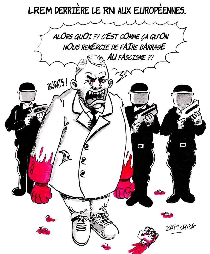 dessin humoristique sur les résultats des élections européennes et Christophe Castaner se plaignant de l'ingratitude des électeurs