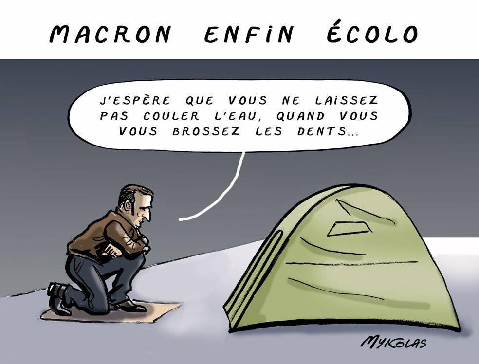 dessin d'actualité humoristique sur Emmanuel Macron devenant enfin écologiste après le résultats des élections européennes