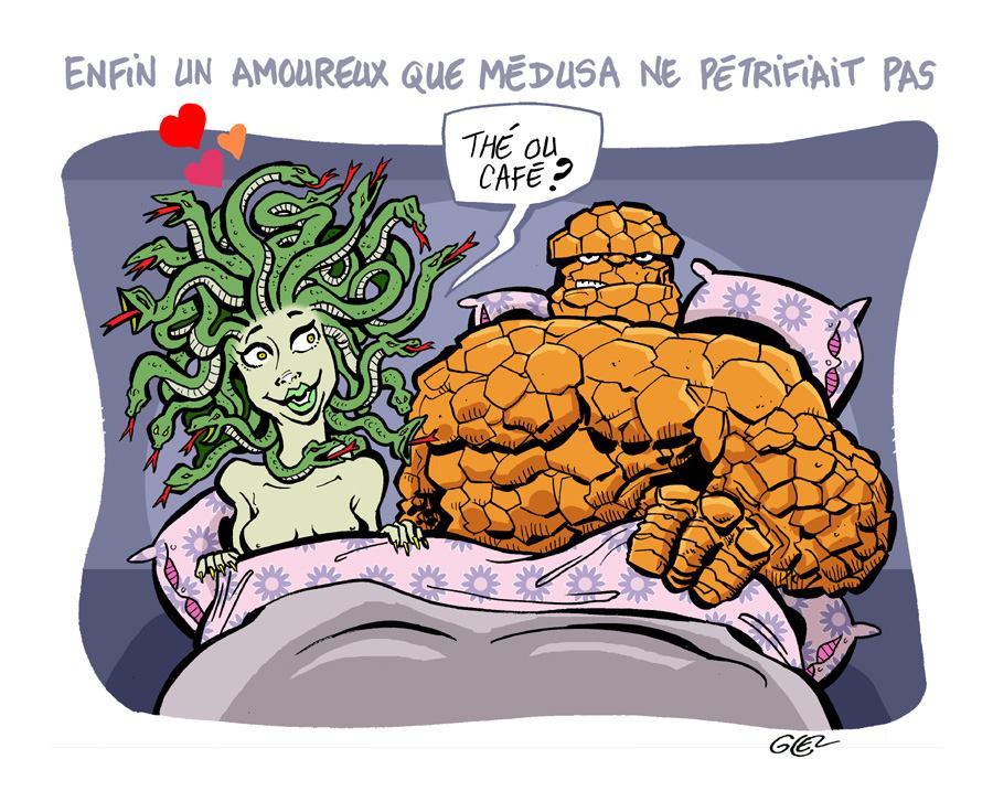 dessin humoristique sur Médusa et Benjamin Grimm alias La chose en couple amoureux
