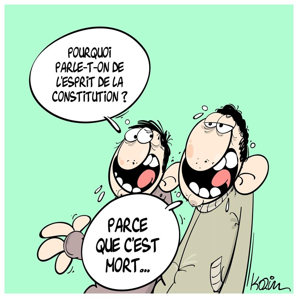 dessin d'actualité humoristique sur l'esprit de la Constitution en Algérie