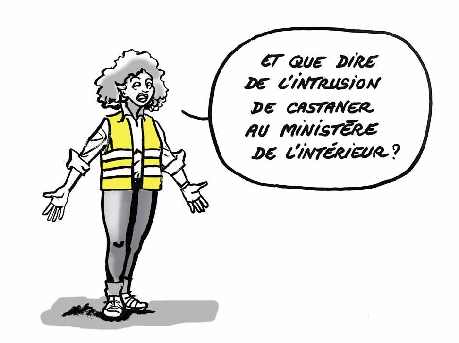 dessin d'actualité humoristique sur l'annonce par Christophe Castaner de l'attaque de la Pitié-Salpêtrière requalifiée en intrusion