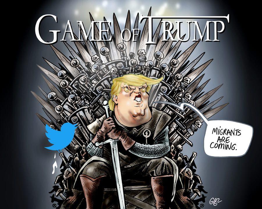dessin humoristique sur Donald Trump assis sur le Trône de Fer face aux migrants