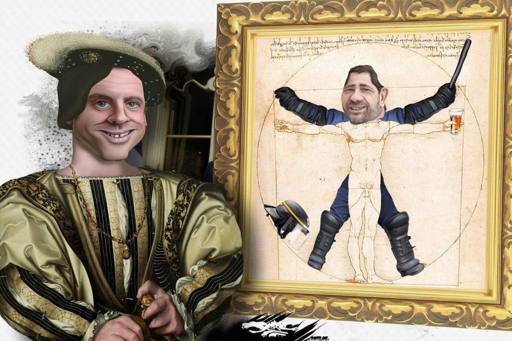 dessin d'actualité humoristique sur Emmanuel Macron, Christophe Castaner et La Renaissance pour les élections européeennes