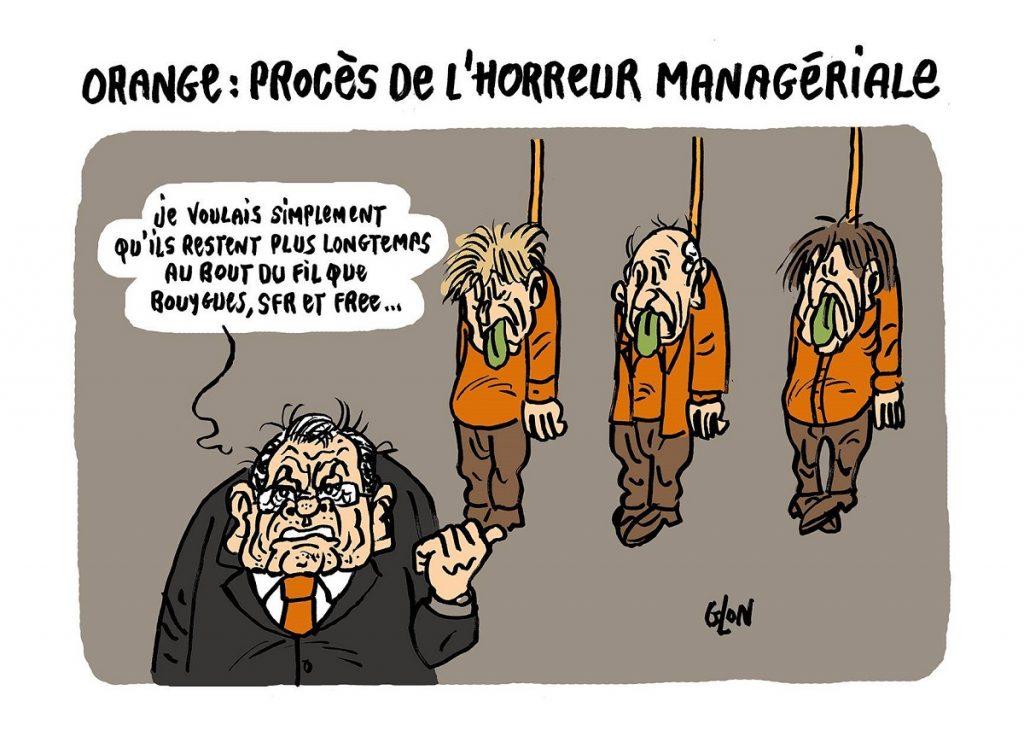 dessin d'actualité humoristique sur le procès France Télécom et l'horreur managériale