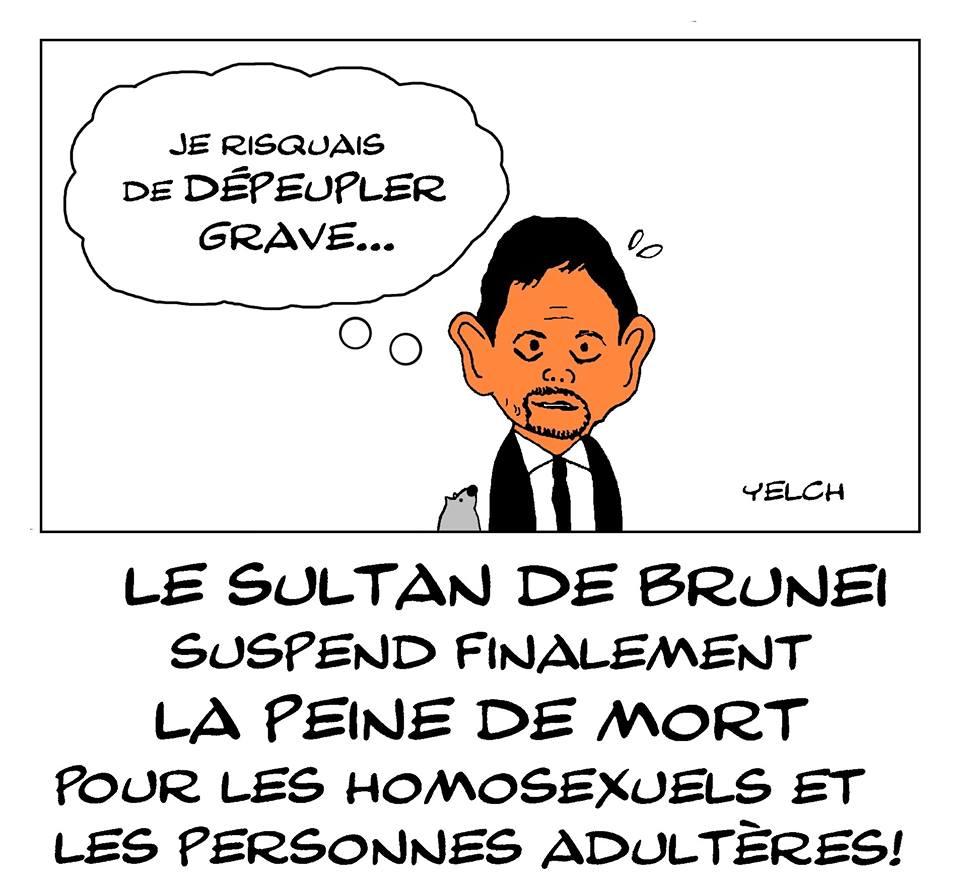 dessin d'actualité humoristique sur la suspension de la peine de mort pour les homosexuels et les adultères par le sultan de Brunei
