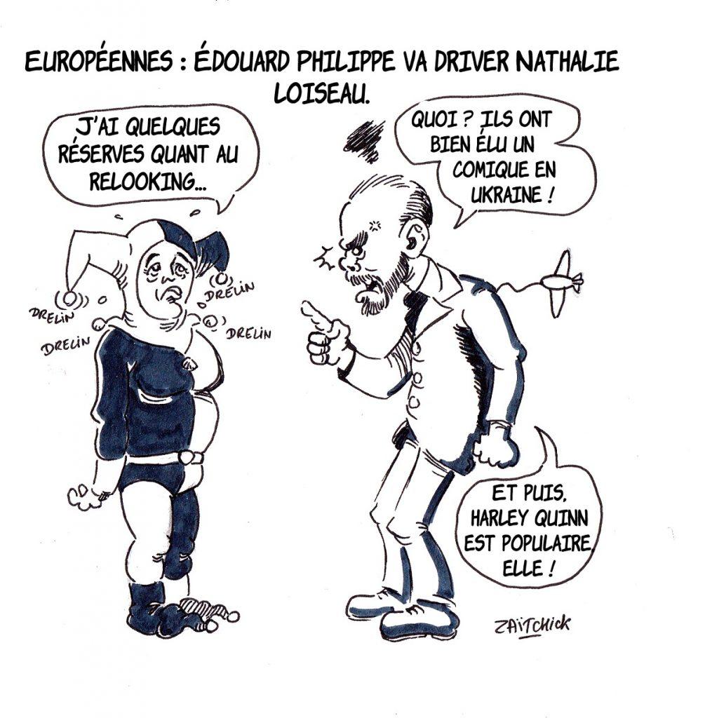 dessin d'actualité humoristique sur Édouard Philippe préparant Nathalie Loiseau pour les élections européennes
