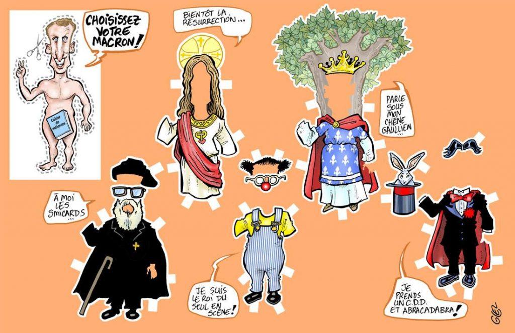 dessin d'actualité humoristique sur les deux ans à l'Élysée d'Emmanuel Macron