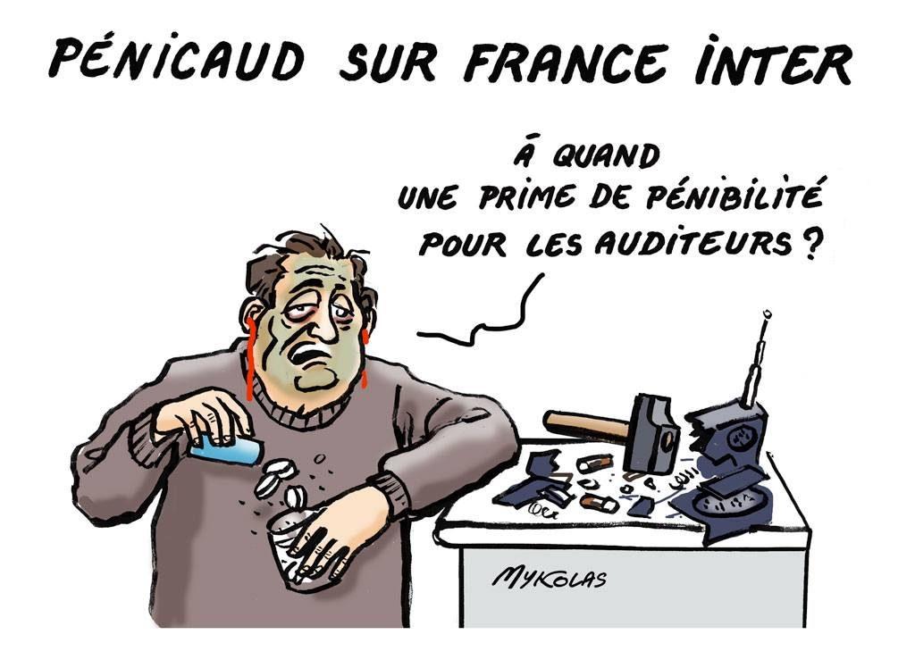 dessin d'actualité humoristique sur l'intervention de Muriel Pénicaud sur France Inter