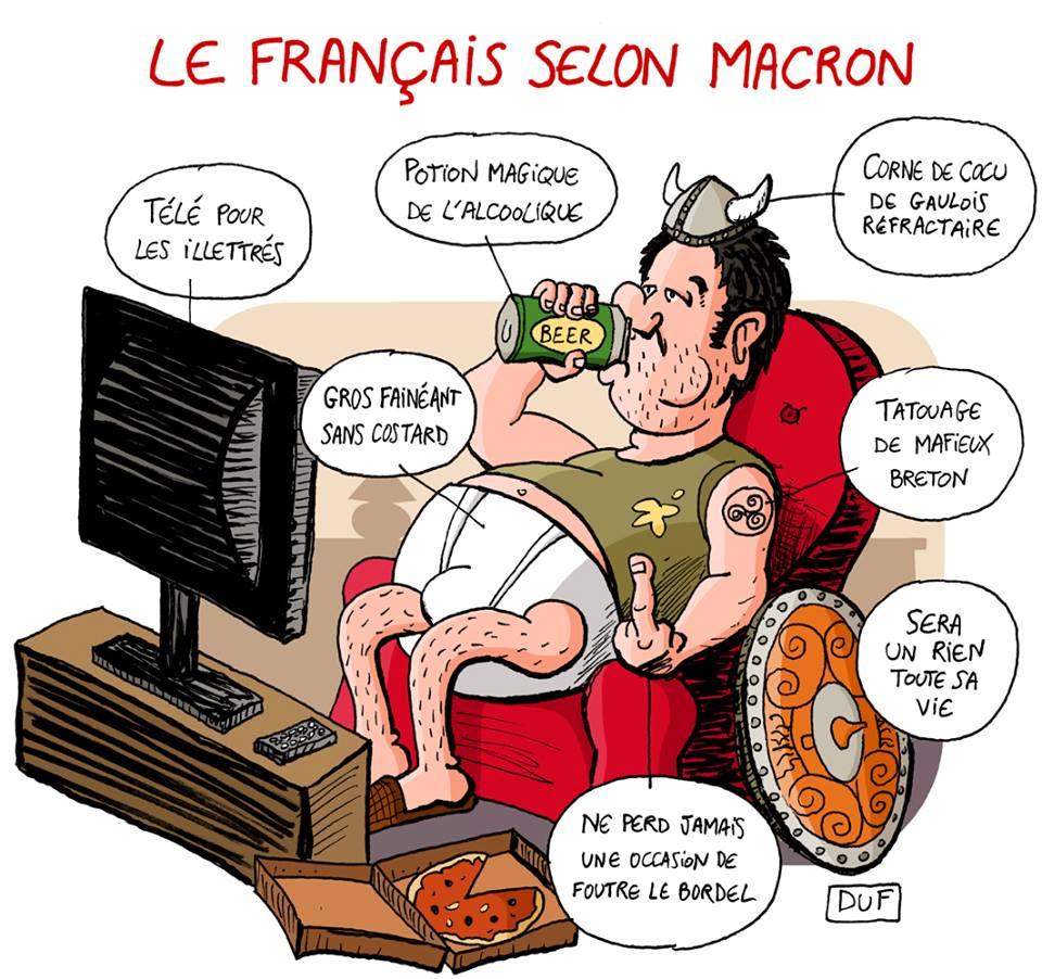 dessin d'actualité humoristique sur les français vus par Emmanuel Macron