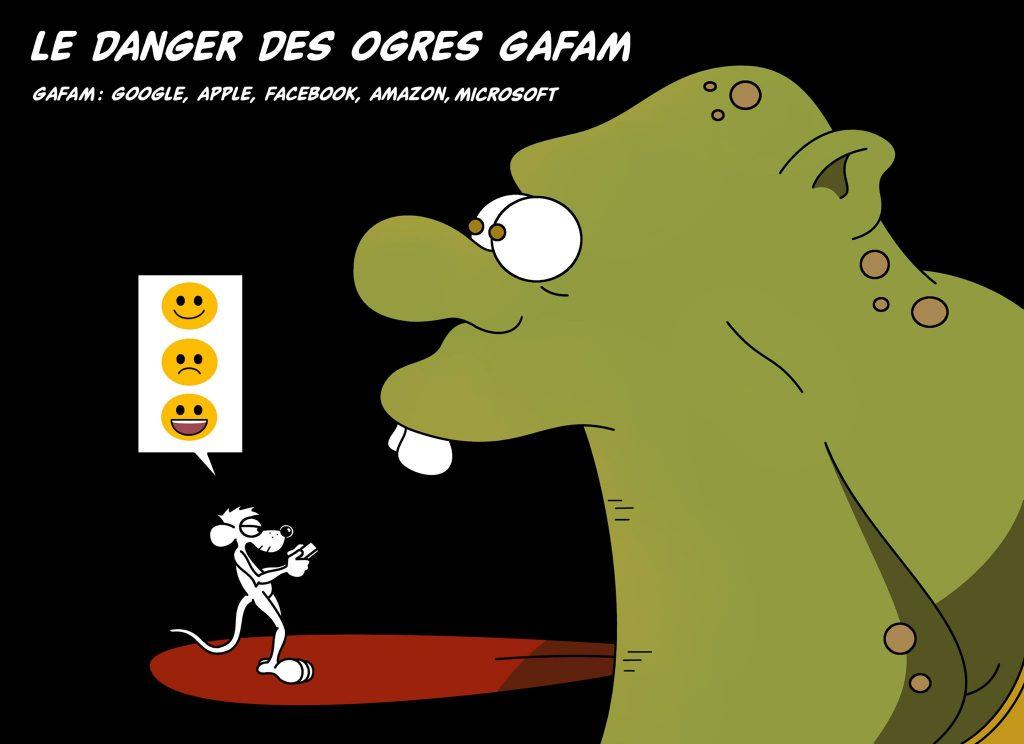 dessin d'actualité humoristique sur les ogres GAFAM