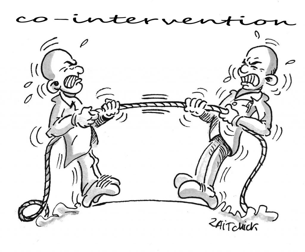 dessin d'actualité humoristique sur la co-intervention