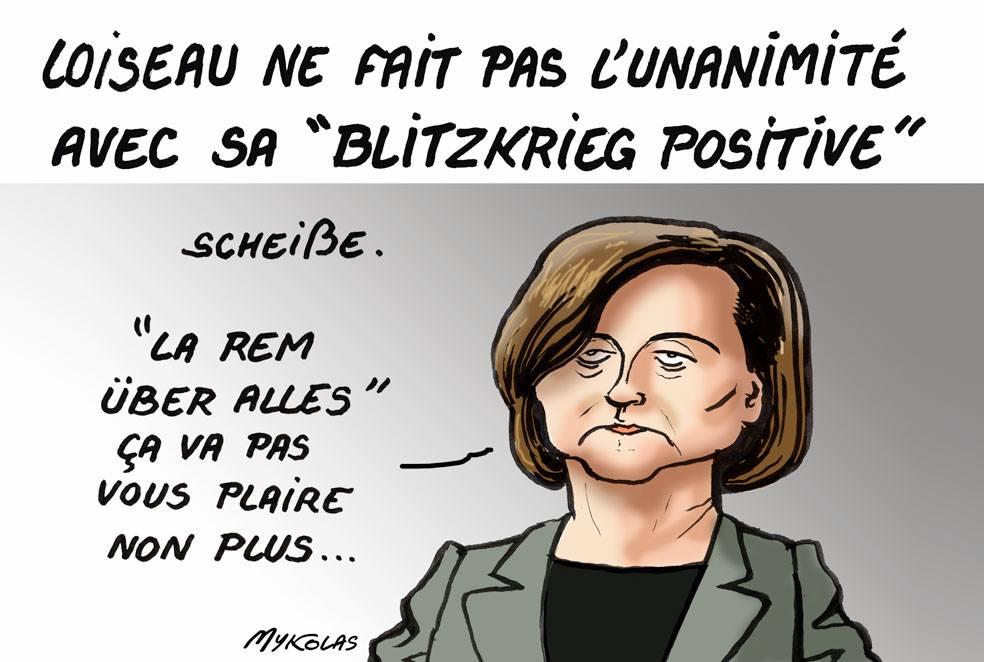dessin d'actualité humoristique sur la Blitzkrieg positive de Nathalie Loiseau.