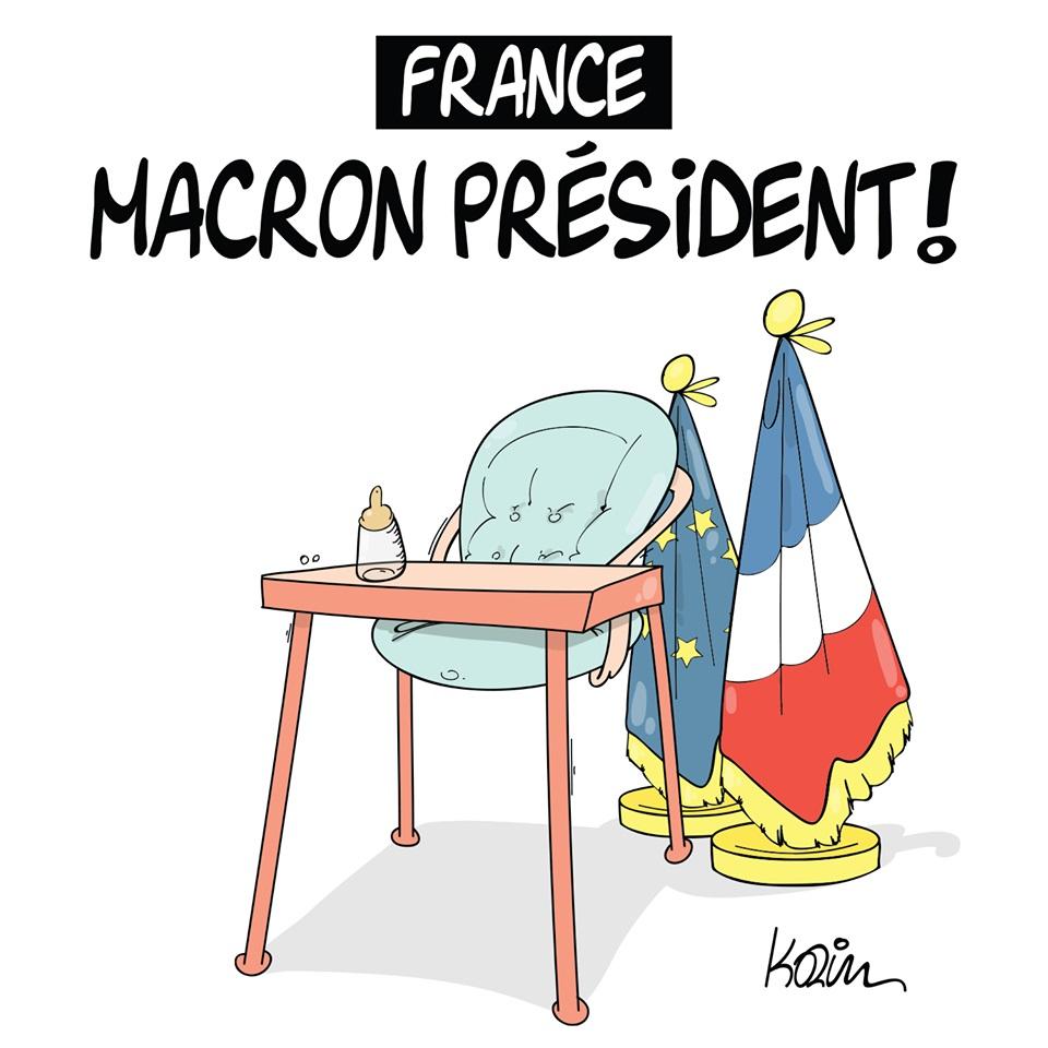 dessin d'actualité humoristique sur l'élection d'Emmanuel Macron à la présidence de la République Française