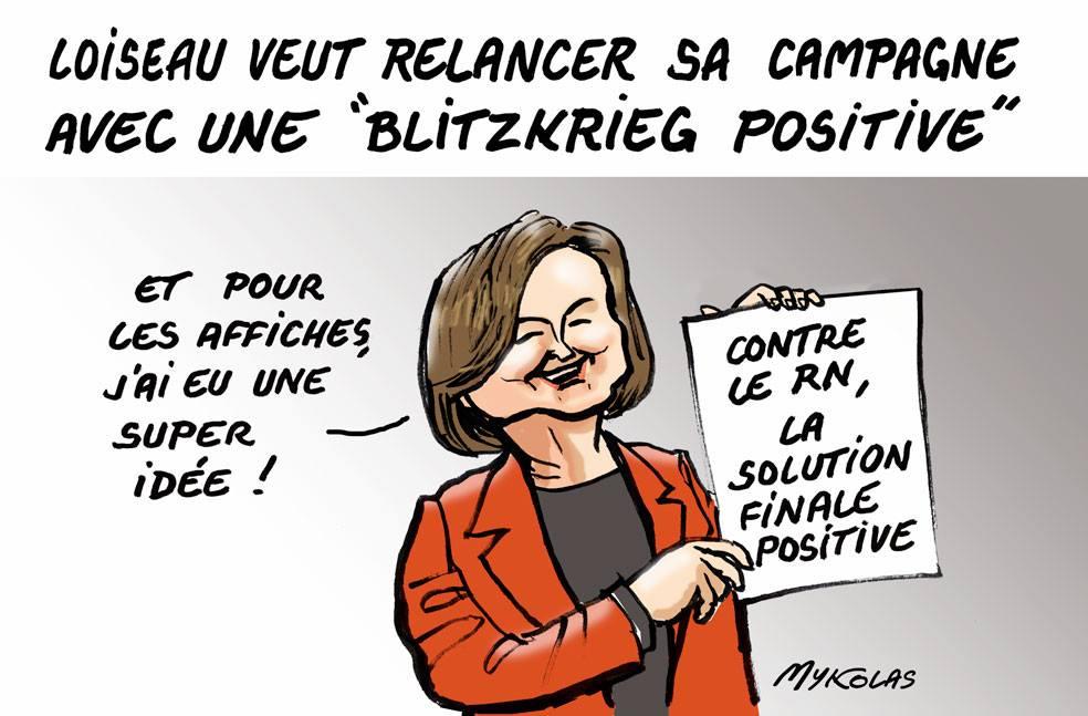 dessin d'actualité humoristique sur la Blitzkrieg positive de Nathalie Loiseau