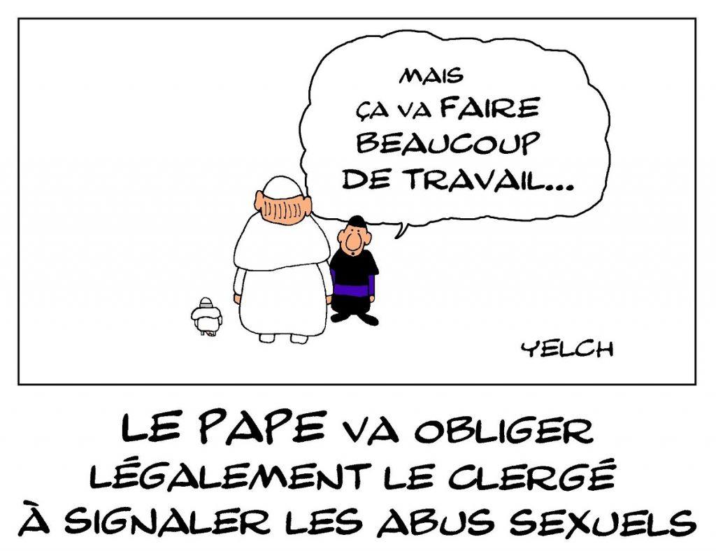 dessin de Yelch sur l'obligation de signalement d'abus sexuels dans le clergé imposé par le Pape