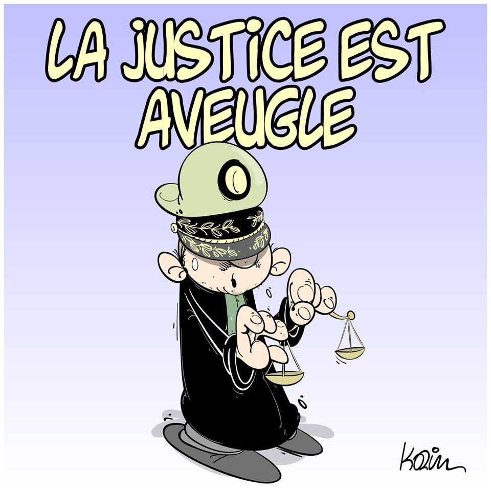 dessin d'actualité humoristique sur la justice algérienne