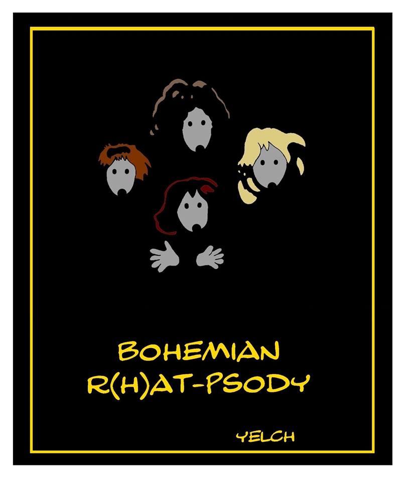 dessin de Yelch sur Bohemian Rhapsody et le groupe Queen