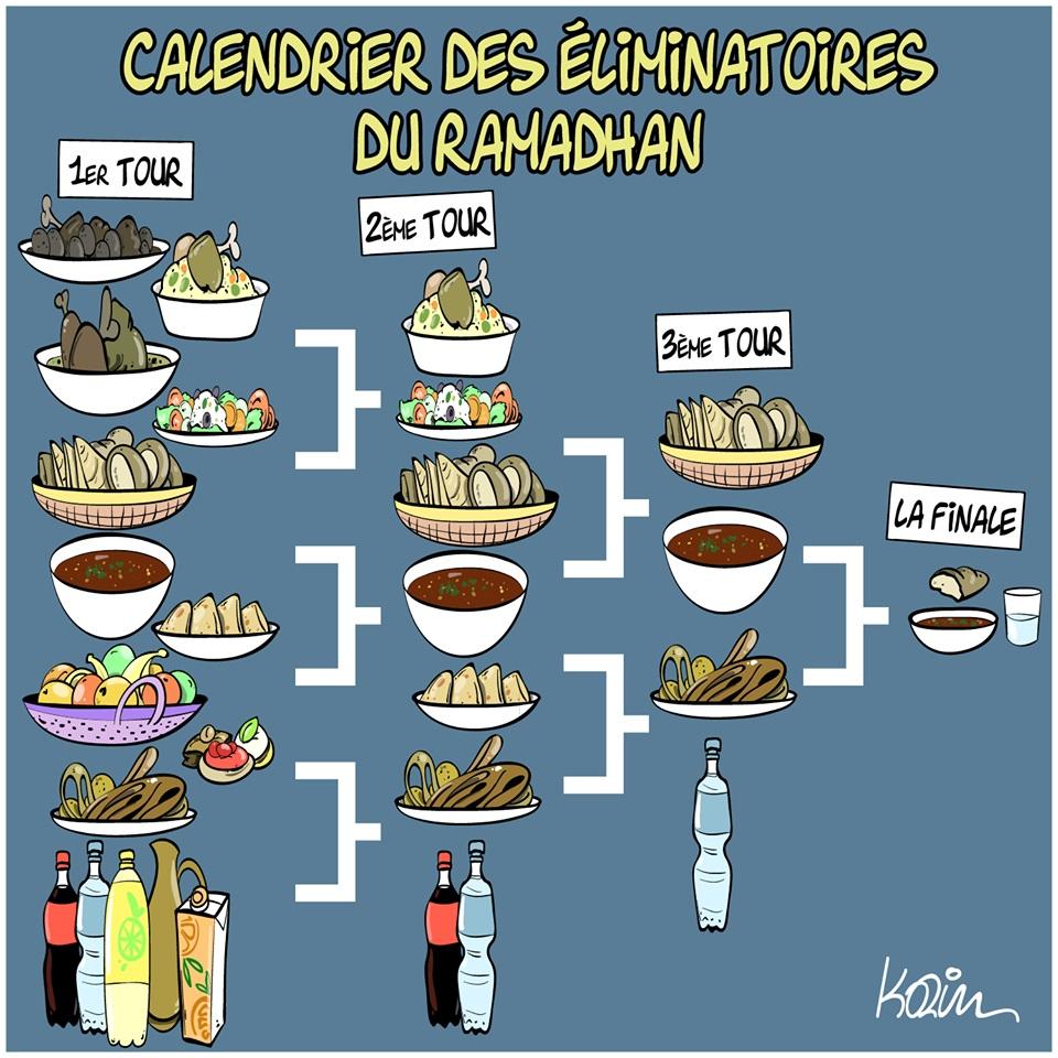 dessin d'actualité humoristique sur le ramadan