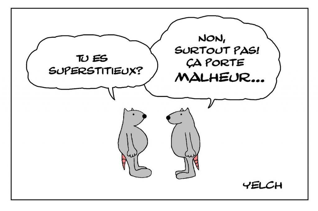 dessin de Yelch sur la superstition
