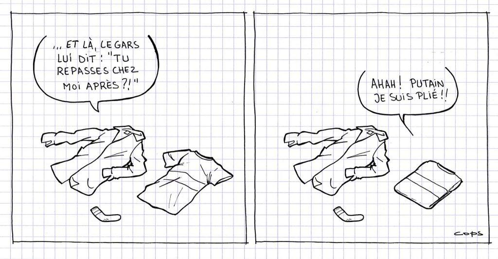 dessin de Cops sur les vêtements, le pliage et le repassage