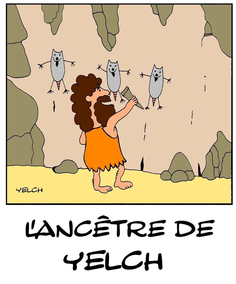 dessin de Yelch sur son ancêtre des cavernes