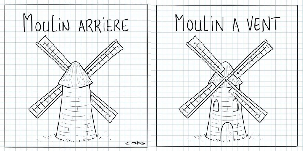dessin de Cops sur les moulins arrière et les moulins à vent