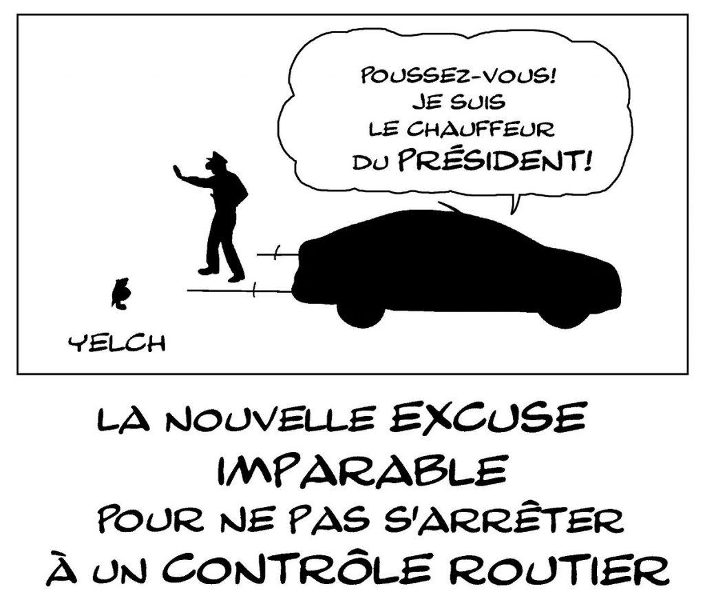 dessin de Yelch sur le délit de fuite du chauffeur d'Emmanuel Macron lors d'un contrôle routier