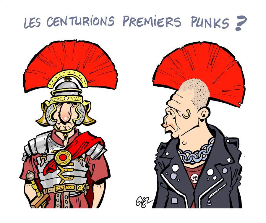 dessin humoristique sur les centurion romain et les punks