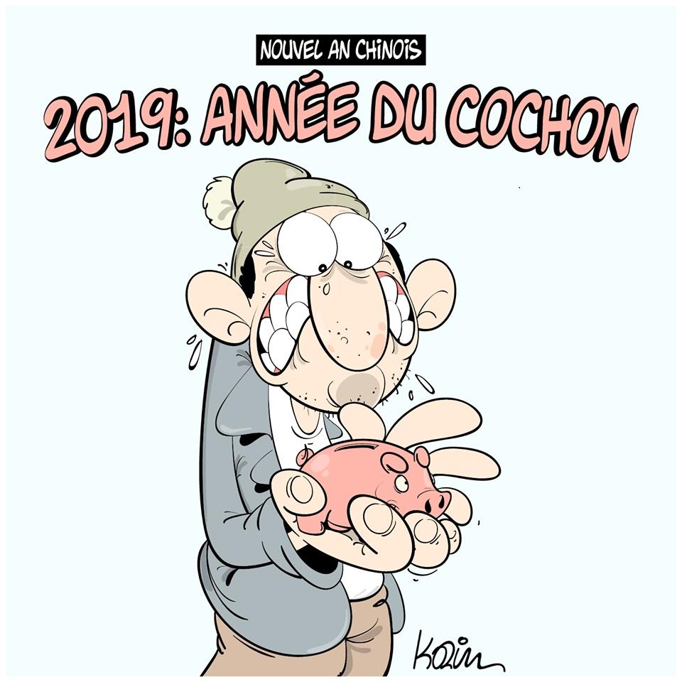 dessin d'actualité humoristique sur l'année du cochon pour les algériens