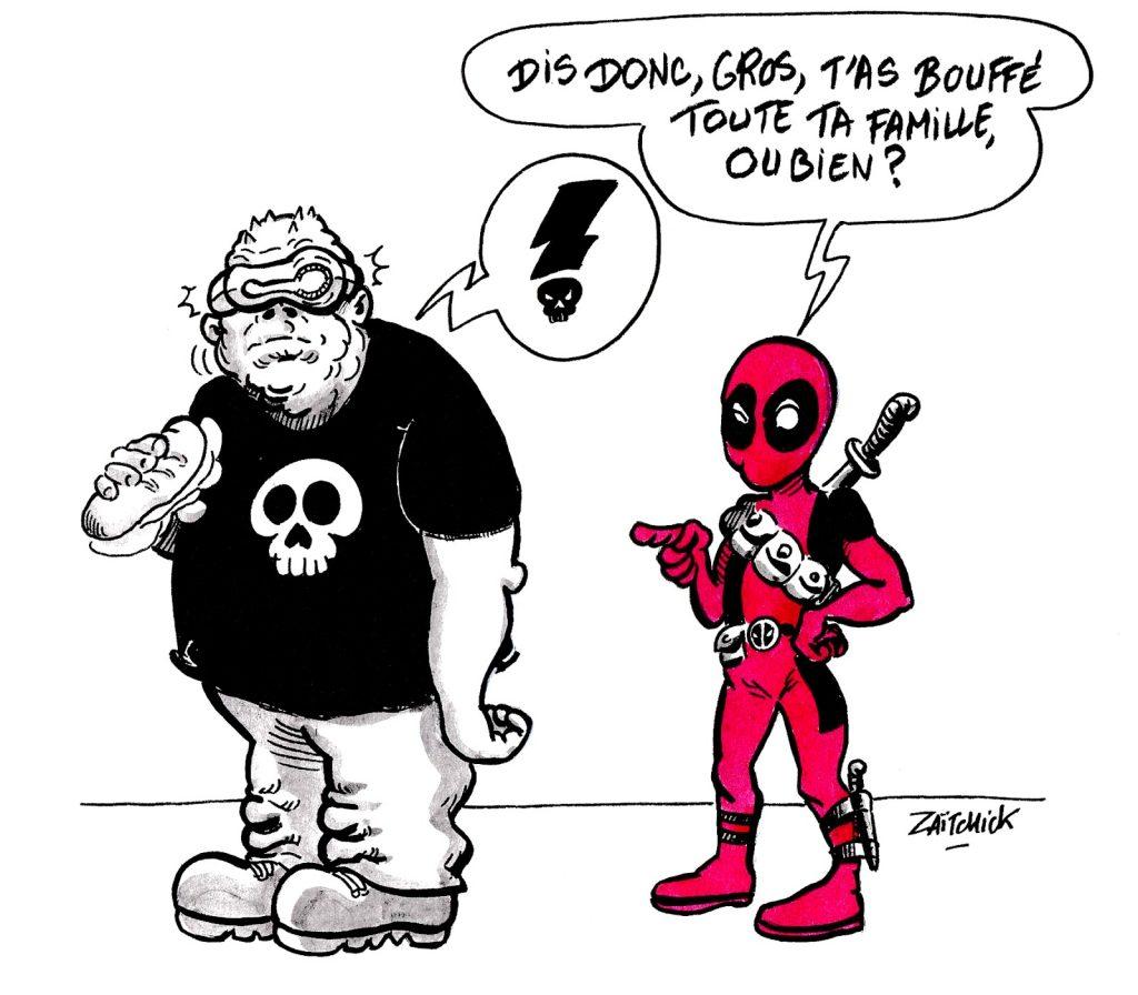 dessin humoristique sur Deadpool provoquant le Leader des Mutants