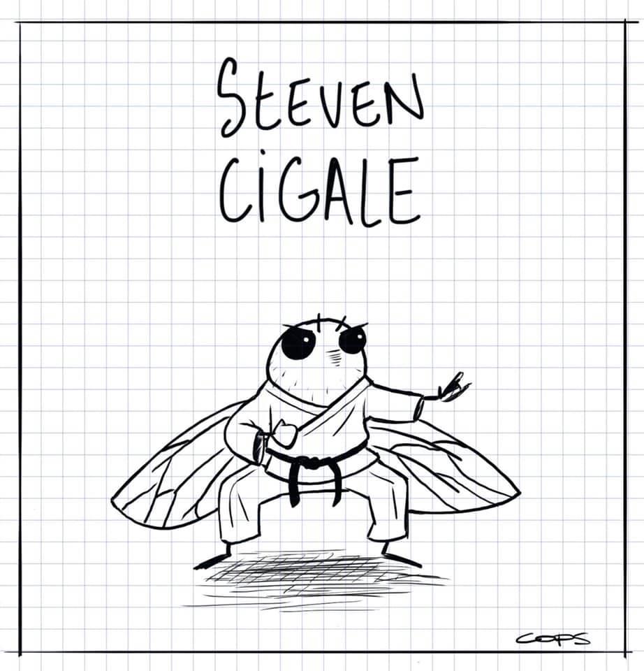 dessin de Cops sur Steven Seagal