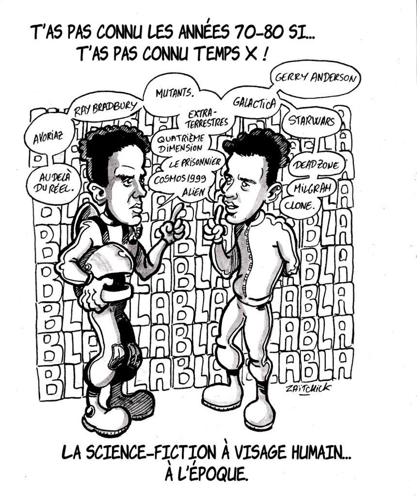 dessin humoristique sur les années 70-80 et l'émission Temps X animée par Igor et Grichka Bogdanoff