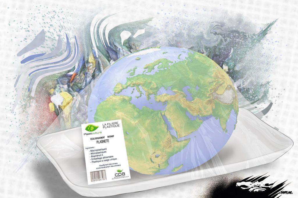 dessin d'actualité humoristique sur la Terre victime de la pollution plastique